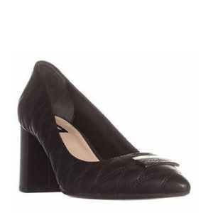 DKNY Quilted Pointy Chunky Heel Black